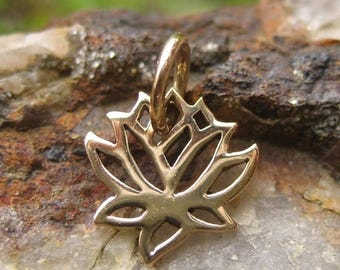 ON SALE TODAY Tiny Lotus Charm - Gold Tone - Bronze Very Small