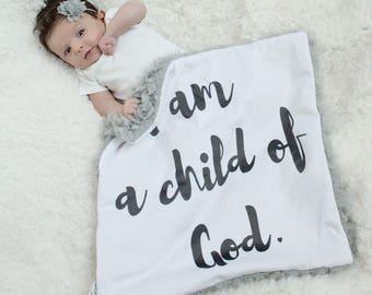 Custom Baby Blanket I am a child of God faux fur minky lovey baby gift cloud blanket llama newborn gift plush photo prop