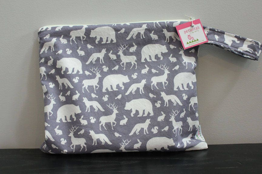 Wet Bag Wetbag Diaper ICKY Proof Grey Animals Gym Swim Cloth Zipper Gift Newborn Baby Child Kids Summer Beach