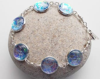 Large Bracelet Textile and Glass in Hydrangea Blue