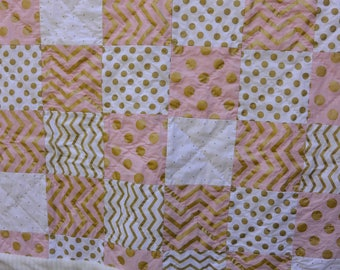 Baby Quilt- Pink, White and Gold