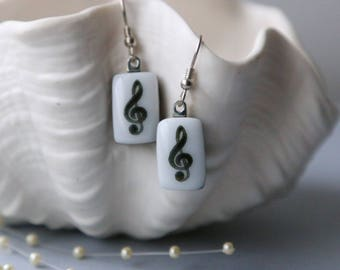 Music Notes Drop Earrings Fused Glass, Jewelry, Getglassy 00140