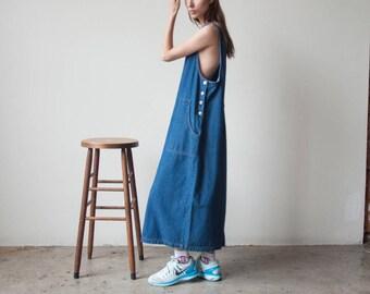 denim jumper dress / oversized jean dress / maxi dress / s / m / l / 2340d / B7