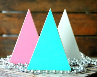 3 . Wooden Christmas Trees . Rustic Christmas Decorations . Primitive Decor . Pink Teal White . CoWorker Gifts . Country Christmas Decor