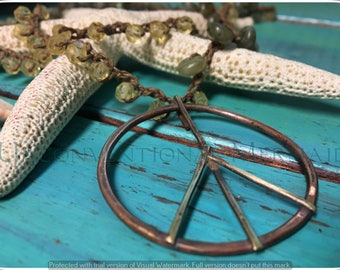 Boho Jewelry, Peace Sign Pendant, Hammered Pendant, Copper and Brass Peace Sign Necklace