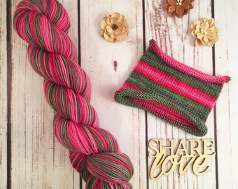 Note For Note: Hand-dyed self-striping sock yarn with heel/toe miniskein, 80/20 SW merino/nylon