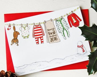 SALE Baby's First Christmas Personalised Card - New Baby Card - First Christmas