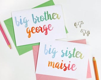 SALE New Baby Sibling Card - Personalised New Baby Card - Big Brother Card - Big Sister Card - Baby Keepsake Card