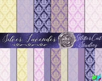 Digital Paper Pack: Silver Lavender Damask Letter Paper, Pink & Purple Digital Printable Paper, Romantic, Wedding Scrapbook Papers