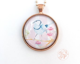 Bluebird rose gold pendant necklace / Superb Fairy Wren Pendant / rose gold jewellery / bluebird jewellery / shabby chic jewelry / pale pink