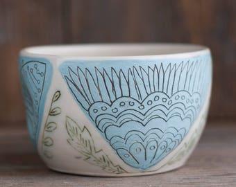 bowl - teabowl - folk - illustrated - handmade - floral - art pottery