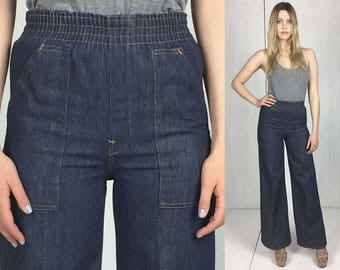 70s High Waisted Wide Leg Jeans