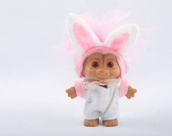 Easter Bunny Troll, Rabbit Costume, Vintage Collectible, Norfin, Russ, Dam ~ The Pink Room ~ CC004