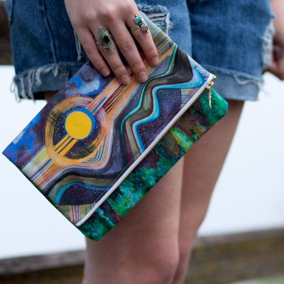 LIMITED EDITION Mountain Print On Fold OVER Clutch iPad mini case Painted Purse
