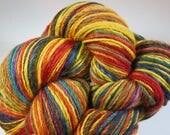 SJK Hand Spun -- Hand Spun DK Yarn, Navajo Plied -- Autumn Color Blocks (105 grams/283 yds)