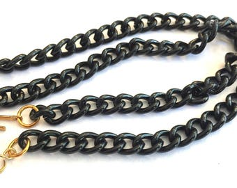 vintage chain enameled with clasp black UNsoldered 6mm links necklace 16 inches (1)