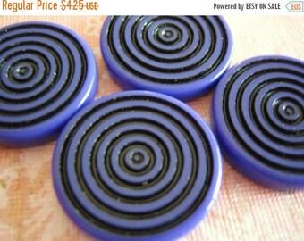 SALE 15% off VIntage lucite deep purple violet swirl bullseye focal beads - lot of 4