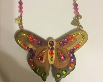 Tarina Tarantino Brown Wood Butterfly Bejeweled Necklace