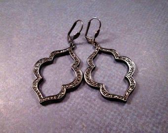 Pave Earrings, Black Glass Rhinestones, Gunmetal Silver Dangle Earrings, FREE Shipping U.S.