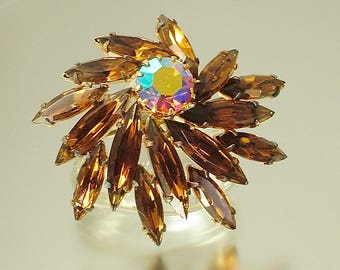 Vintage, estate 1950s/ 60s glam gold plated & brown / orange rhinestone/ paste, abstract flower costume brooch / pin - jewelry jewellery