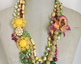 Floral Statement Necklace, Colorful Neckmess, Vintage Assemblage Necklace