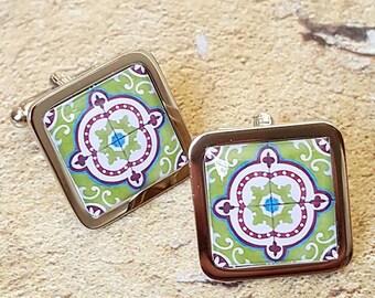 Zest Portuguese Tile Cufflinks