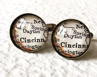 Dayton Map Cufflinks - You pick your map - Custom Ohio Map Cufflink Set - Great for weddings