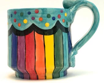Ceramic Rainbow Mug One (1) Handmade Wheel Thrown Stoneware Coffee Cup Hand Painted Ready to Ship Four Colors to Choose From MG0026