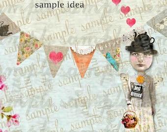 ART TEA LiFE Happy Paper Dolls Mini Banners Collage Sheet Digital File  Printable Download Decoupage Scrapbook
