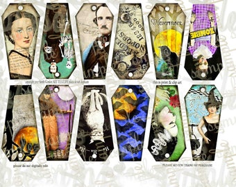 ART TEA LIFE Coffin Halloween Tags Collage Sheet Digital File Clip art Card scrapbook edgar poe annabelle decoupage holiday party favor gift