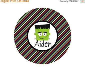 ON SALE Personalized Halloween Frankenstein Plate and Bowl Set