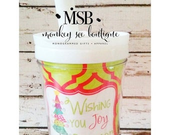 ON SALE Everlasting toddler Christmas tumbler with straw - wish you joy christmas design - monogrammed and personalized child's cup - holida