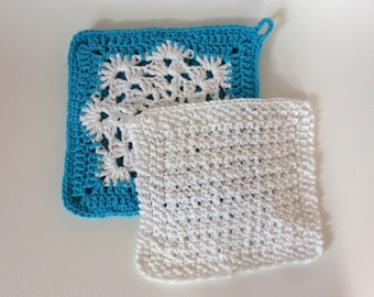 Blue and White Hotpad and Dishcloth Set