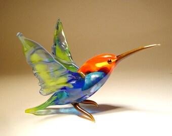 Handmade Blown Glass Art Blue & Yellow HUMMINGBIRD Bird Figurine with a  Red Head