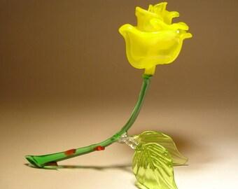 Handmade Blown Glass Art Figurine Open Yellow ROSE  Flower Figurine