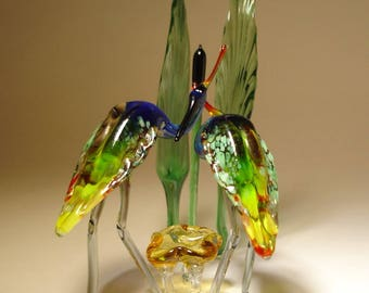 Handmade Blown Glass Art Two Birds HERON in a Reed