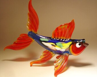 Handmade Blown Glass Art Figurine Red and Blue Fish with Colorful Body