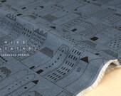 Japanese Fabric 100% linen Town Life - blue -  50cm