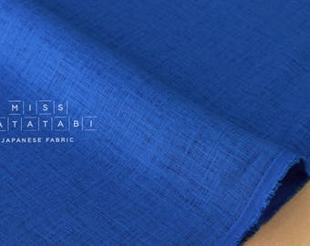 Nani Iro Kokka Naomi Ito Linen Colors Japanese Fabric - sapphire clear - 50cm