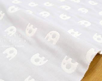 Japanese Fabric - fluffy 6-layer gauze - reversible elephants - pale grey - 50cm