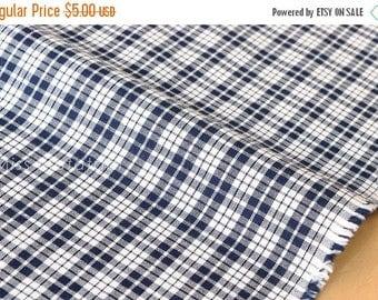 Japanese Fabric - yarn dyed gingham check - navy blue - 50cm