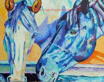 "Original Oil Painting Horses Drinking Together 11""x14"""