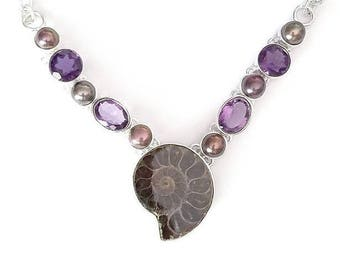 Ammonite Fossil, Black Pearl, and Amethyst Sterling Silver Necklace