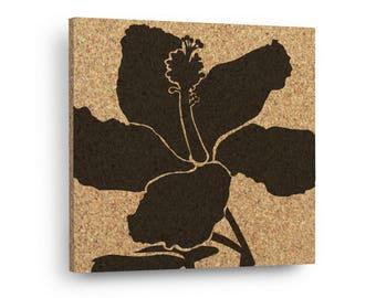 HIBISCUS FLOWER Mix & Match Floral Cork Decor Art Tiles Or Kitchen Trivet - Wall DéCork