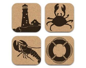Lighthouse Crab Lobster Life Preserver Nautical Coastal Cork Coaster Set Of 4 Home Decor Barware Decoration
