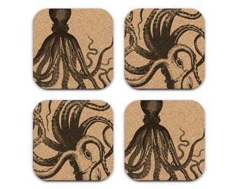 VINTAGE OCTOPUS Nautical Coastal Beach Decor Cork Coaster Set Of 4 Barware Decoration