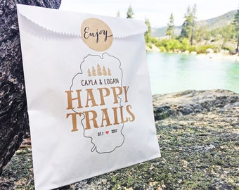 Wedding Favor Bags - Tahoe Reception - Happy Trails - White Wax Lined Favor Bag - Mountain Lovers - 20 Bags each Pack