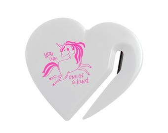 "Unicorn Letter Opener / White Heart with Neon Pink Unicorn and ""You Are One of a Kind"" / Envelope Opener"