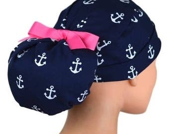 Womens Perfect Fit Ponytail Surgical Scrub Hat Cap- Anchors Away