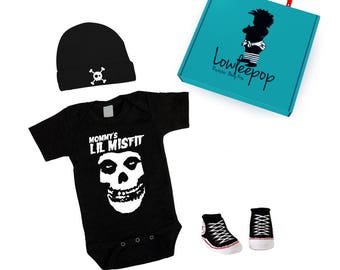 ROCKSTAR BABY KIT Mommy's Lil Misfit black onesie, sneaker booties, skull hat & optional gift box